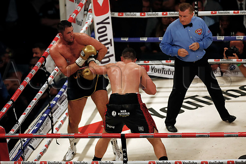 23rd September 2017, Manchester Arena, Manchester, England; WBO World Heavyweight, Joseph Parker versus Hughie Fury; Joseph Parker connects with a body punch