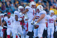 BERKELEY, CA - NOVEMBER 22, 2014: David Parry celebrates with teammates during Stanford's 117th Big Game against Cal. The Cardinal defeated the Bears 38-17.