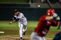 Luis Perez pitcher inicial de los naranjeros, durante juego de beisbol de la Liga Mexicana del Pacifico temporada 2017 2018. Tercer juego de la serie de playoffs entre Mayos de Navojoa vs Naranjeros. 04Enero2018. (Foto: Luis Gutierrez /NortePhoto.com)