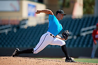 Miami Marlins pitcher Evan Brabrand (58) during an Instructional League game against the Washington Nationals on September 25, 2019 at Roger Dean Chevrolet Stadium in Jupiter, Florida.  (Mike Janes/Four Seam Images)