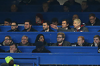 Arsenal Manager, Arsene Wenger, makes a point to Jens Lehmann while sitting in the Press Box during Chelsea vs Arsenal, Caraboa Cup Football at Stamford Bridge on 10th January 2018