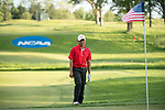 SUGAR GROVE, IL - MAY 29: John Oda of UNLV lines up a shot during the Division I Men's Golf Individual Championship held at Rich Harvest Farms on May 29, 2017 in Sugar Grove, Illinois. Oda tied for 8th place with a -3 score. (Photo by Jamie Schwaberow/NCAA Photos via Getty Images)