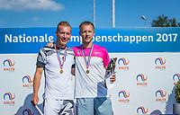 Etten-Leur, The Netherlands, August 27, 2017,  TC Etten, NVK, Winner men's 40+ , Dennis Bank (R) and runner up Wouter den Bakker<br /> Photo: Tennisimages/Henk Koster