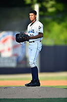 Asheville Tourists starting pitcher Erik Julio (29) during a game against the West Virginia Power at McCormick Field on May 10, 2017 in Asheville, North Carolina. The Tourists defeated the Power 4-3. (Tony Farlow/Four Seam Images)