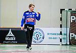 Stockholm 2013-11-10 Handboll Elitserien Hammarby IF - Eskilstuna Guif :  <br /> Hammarby m&aring;lvakt 25 Pontus Espling knyter n&auml;ven efter en r&auml;ddning i matchen<br /> (Foto: Kenta J&ouml;nsson) Nyckelord:  portr&auml;tt portrait glad gl&auml;dje lycka leende ler le