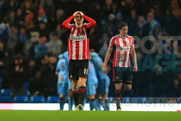 Adam Johnson of Sunderland looks dejected following Frank Lampard of Manchester City goal - Manchester City vs. Sunderland - Barclay's Premier League - Etihad Stadium - Manchester - 28/12/2014 Pic Philip Oldham/Sportimage