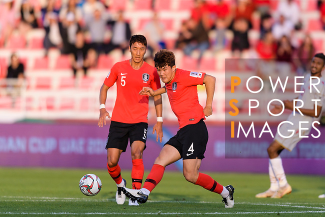 Kim Minjae of South Korea (C) in action during the AFC Asian Cup UAE 2019 Round of 16 match between South Korea (KOR) and Bahrain (BHR) at Rashid Stadium on 22 January 2019 in Dubai, United Arab Emirates. Photo by Marcio Rodrigo Machado / Power Sport Images