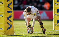 Wasps' Willie Le Roux scores a try for Wasps<br /> <br /> Photographer Bob Bradford/CameraSport<br /> <br /> Aviva Premiership Round 14 - Harlequins v Wasps - Sunday 11th February 2018 - Twickenham Stoop - London<br /> <br /> World Copyright &copy; 2018 CameraSport. All rights reserved. 43 Linden Ave. Countesthorpe. Leicester. England. LE8 5PG - Tel: +44 (0) 116 277 4147 - admin@camerasport.com - www.camerasport.com