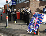 And the brass band played tunes to entertain the fans outside the stadium next to the old Higland Toffee factory in Stenhousemuir