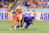 Houston, TX - Saturday June 17, 2017: Janine van Wyk and Jamia Fields battle for control of the ball  during a regular season National Women's Soccer League (NWSL) match between the Houston Dash and the Orlando Pride at BBVA Compass Stadium.
