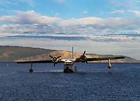 A Grumman HU-16, Albatross, anchored on Clear Lake during the Clear Lake Seaplane Splash-In, Lakeport, Lake County, California