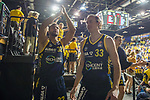 02.06.2019, EWE Arena, Oldenburg, GER, easy Credit-BBL, Playoffs, HF Spiel 1, EWE Baskets Oldenburg vs ALBA Berlin, im Bild<br /> Gluecklich nach dem Sieg gegen Oldenburg<br /> Johannes TIEMANN (ALBA Berlin #32 ) Dennis CLIFFORD (ALBA Berlin #33 )<br /> Foto © nordphoto / Rojahn