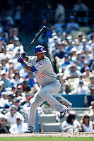 Derrek Lee of the Chicago Cubs during a game from the 2007 season at Dodger Stadium in Los Angeles, California. (Larry Goren/Four Seam Images)
