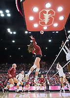 STANFORD, CA - September 9, 2018: Audriana Fitzmorris, Kathryn Plummer, Tami Alade at Maples Pavilion. The Stanford Cardinal defeated #1 ranked Minnesota 3-1 in the Big Ten / PAC-12 Challenge.