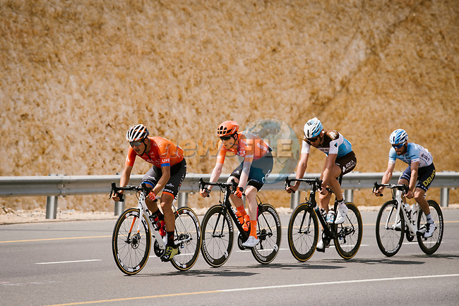The breakaway forms after 20km featuring Nathan Van Hooydonck (BEL) CCC Team, Stijn Vandenbergh (BEL) AG2R La Mondiale, Alexis Guerin (FRA) Delko-Marseille Provence and Adam de Vos (CAN) Rally-UHC during Stage 6 of the 10th Tour of Oman 2019, running 135.5km from Al Mouj Muscat to Matrah Corniche, Oman. 21st February 2019.<br /> Picture: ASO/P. Ballet | Cyclefile<br /> All photos usage must carry mandatory copyright credit (© Cyclefile | ASO/P. Ballet)