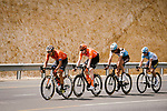 The breakaway forms after 20km featuring Nathan Van Hooydonck (BEL) CCC Team, Stijn Vandenbergh (BEL) AG2R La Mondiale, Alexis Guerin (FRA) Delko-Marseille Provence and Adam de Vos (CAN) Rally-UHC during Stage 6 of the 10th Tour of Oman 2019, running 135.5km from Al Mouj Muscat to Matrah Corniche, Oman. 21st February 2019.<br /> Picture: ASO/P. Ballet | Cyclefile<br /> All photos usage must carry mandatory copyright credit (&copy; Cyclefile | ASO/P. Ballet)
