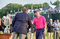Justin Thomas (USA) arrives back on the 18th green for the trophy presentation following Sunday's final round of the PGA Championship at the Quail Hollow Club in Charlotte, North Carolina. 8/13/2017.<br /> Picture: Golffile | Ken Murray<br /> <br /> <br /> All photo usage must carry mandatory copyright credit (&copy; Golffile | Ken Murray)