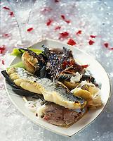 Europe/Suisse/Saanenland/Gstaad: Filet de sandre poêllé au jarret de veau et légumes de saison - Recette de Marcus G. Linder chef du Grand Hôtel Park