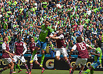 Seattle Sounders Clint Dempsey heads the towards the goal in their game against the Colorado Rapids during an MLS match on April 26, 2014 in Seattle, Washington.  Dempsey scored twice in the Seattle Sounders 4-1 win over the Colorado Rapids.  Jim Bryant Photo. ©2014. All Rights Reserved.