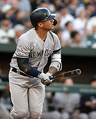 New York Yankees second baseman Gleyber Torres (25) follows the flight of the ball as he homers in the second inning against the Baltimore Orioles at Oriole Park at Camden Yards in Baltimore, MD on Monday, May 20, 2019.<br /> Credit: Ron Sachs / CNP<br /> (RESTRICTION: NO New York or New Jersey Newspapers or newspapers within a 75 mile radius of New York City)