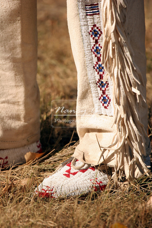 The bead decorated pants leg or leggings of an Sioux Indian Chief