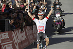 Michal Kwiatkowski (POL) Omega Pharma-Quick Step crosses the finish line on Il Campo in Siena to win at the end of the 2014 Strade Bianche race over the white dusty gravel roads of Tuscany running 200km from San Gimignano to Siena, Italy. 8th March 2014.<br /> Picture: Eoin Clarke www.newsfile.ie