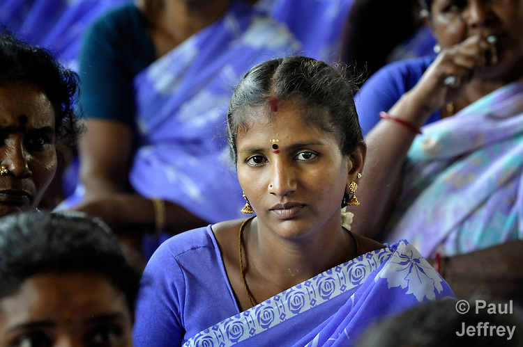 A participant in a rally celebrating International Women's Day in Madurai, a city in Tamil Nadu state in southern India.