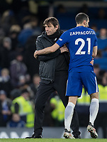 Antonio Conte and David Zappacosta of Chelsea during the Premier League match between Chelsea and West Bromwich Albion at Stamford Bridge, London, England on 12 February 2018. Photo by Andy Rowland.