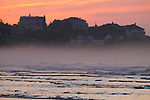 Houses on coast at sunrise, Gloucester, Cape Ann, eastern Massachusetts