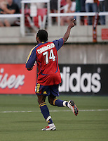 Real Salt Lake forward Jeff Cunningham (74) celebrates the first of his 2 goals. Real Salt Lake defeated the Chicago Fire 3-1 at Rice Eccles Stadium, Salt Lake City, Utah, June 3, 2006.