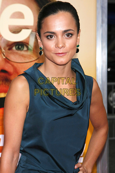 "ALICE BRAGA.Attending the New York Premiere of ""The Informant!"", New York, NY, USA, .September 15th 2009..half length blue dress sleeveless collar cowel neck hand on hip.CAP/LNC/TOM.©LNC/Capital Pictures."