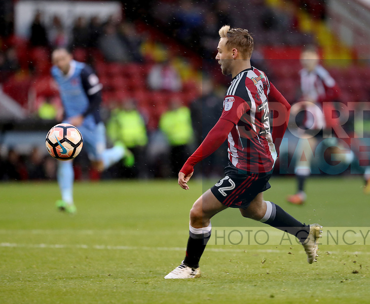 Harry Chapman of Sheffield United scores his second of the game during the Emirates FA Cup Round One match at Bramall Lane Stadium, Sheffield. Picture date: November 6th, 2016. Pic Simon Bellis/Sportimage