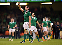 Devin Toner of Ireland celebrates at the final whistle. Rugby World Cup Pool D match between France and Ireland on October 11, 2015 at the Millennium Stadium in Cardiff, Wales. Photo by: Patrick Khachfe / Onside Images
