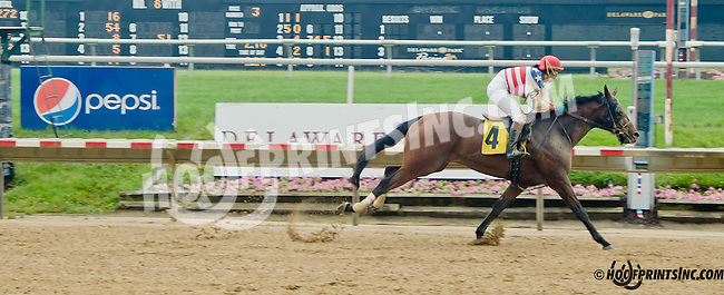 Promised Destiny with Mrs. Blair Wyatt aboard winning The International Ladies Fegentri Race at Delaware Park on 6/10/13