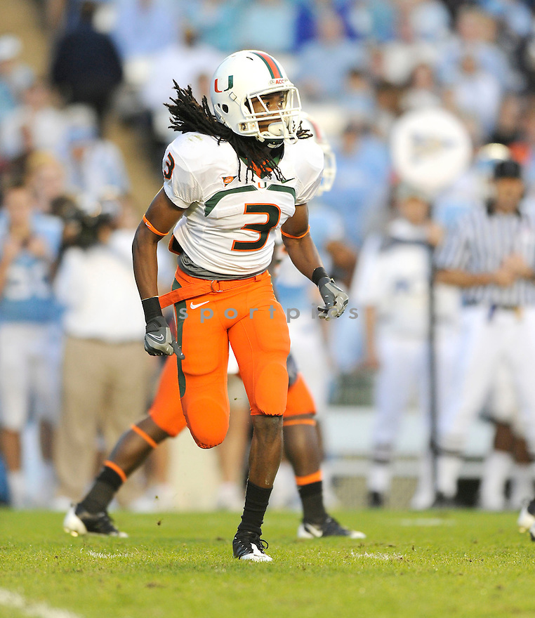 TRAVIS BENJAMIN, of the Miami Hurricanes, in action during the Hurricanes game against the North Carolina Tarheels on November 14, 2009 in Chapel Hill, NC. North Carolina won 33-24.