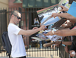 Ichiro Suzuki (Marlins),<br /> FEBRUARY 24, 2014 - MLB :<br /> Ichiro Suzuki of the Miami Marlins signs autographs for fans after practice during the Miami Marlins spring training camp in Jupiter, Florida, United States. (Photo by AFLO)
