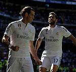 Real Madrid´s Gareth Bale and Alvaro Arbeloa celebrates a goal during 2014-15 La Liga match between Real Madrid and Granada at Santiago Bernabeu stadium in Madrid, Spain. April 05, 2015. (ALTERPHOTOS/Luis Fernandez)
