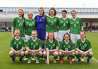 20190406 - TUBIZE , BELGIUM : Team from Republic of Ireland with Kate Slevin (20)   Ellen Molloy (10)   Emma Ring (1)   Della Doherty (5)   Jessica Stapleton (4)   Erin Mc Laughlin (9)   Shauna Brennan (3)   Kerryanne Browne (7)   Kate O'Dowd (2)   Aoife Horgan (15)   Teegan Lynch (12)   pictured during the friendly female soccer match between Women under 16 teams of  Belgium and Republic of Ireland , in Tubize , Belgium . Saturday 6 th April . PHOTO SPORTPIX.BE / DIRK VUYLSTEKE