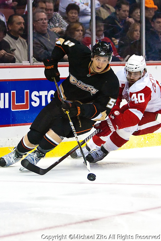 03/02/11 Anaheim, CA: Anaheim Ducks defenseman Luca Sbisa #5 during an NHL game between the Detroit Red Wings and the Anaheim Ducks at the Honda Center. The Ducks defeated the Red Wings 2-1 in OT.