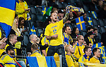 Solna 2014-10-12 Fotboll EM-kval , Sverige - Liechtenstein :  <br /> Sveriges supportrar under matchen mellan Sverige och Liechtenstein <br /> (Photo: Kenta J&ouml;nsson) Keywords:  Sweden Sverige Friends Arena EM Kval EM-kval UEFA Euro European 2016 Qualifying Group Grupp G Liechtenstein supporter fans publik supporters