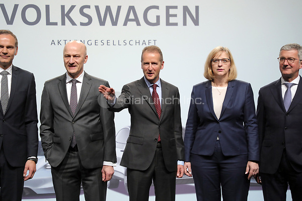 03 May 2018, Germany, Berlin: Board members of Volkswagen AG pose for photographers at the Volkswagen AG annual general meeting at the Messegelaende in Berlin: Oliver Blume (l-r), CEO of Porsche AG, Frank Witter, Herbert Diess, CEO of Volkswagen AG, Hiltrud Dorothea Werner and Rupert Stadler, Chairman of the Board of Management at Audi AG. Photo: Wolfgang Kumm/dpa /MediaPunch ***FOR USA ONLY***