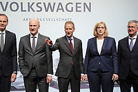 03 May 2018, Germany, Berlin: Board members of Volkswagen AG pose for photographers at the Volkswagen AG annual general meetingat the Messegelaende in Berlin: Oliver Blume (l-r), CEOof Porsche AG, Frank Witter, Herbert Diess, CEOof Volkswagen AG, Hiltrud Dorothea Werner and Rupert Stadler, Chairman of the Board of Management at Audi AG. Photo: Wolfgang Kumm/dpa /MediaPunch ***FOR USA ONLY***