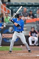 Carl Chester (13) of the Hudson Valley Renegades at bat against the Aberdeen IronBirds at Leidos Field at Ripken Stadium on July 27, 2017 in Aberdeen, Maryland.  The Renegades defeated the IronBirds 2-0 in game one of a double-header.  (Brian Westerholt/Four Seam Images)
