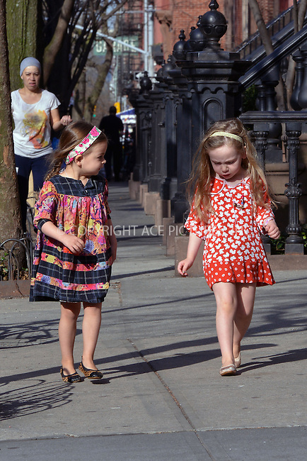 WWW.ACEPIXS.COM....April 9 2013, New York City....Sarah Jessica Parker's twin daughters Tabitha and Marion enjoy the Spring weather on their way to school on April 9 2013 in New York City......By Line: Curtis Means/ACE Pictures......ACE Pictures, Inc...tel: 646 769 0430..Email: info@acepixs.com..www.acepixs.com