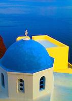 Church with blue roof, Oia Santorini, Greece