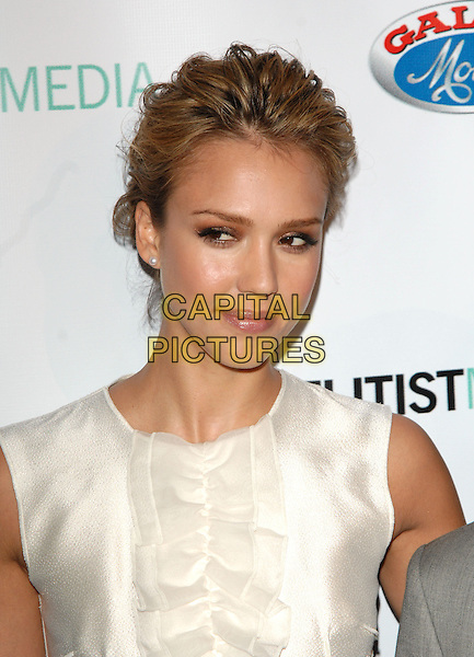 JESSICA ALBA.The First Ladies of Africa Health Summit Gala held at Beverly Hilton Hotel in Beverly Hills, California, USA. .April 21st, 2009.headshot portrait sleeveless white silk satin ruffled ruffles              .CAP/DVS.©Debbie VanStory/Capital Pictures.