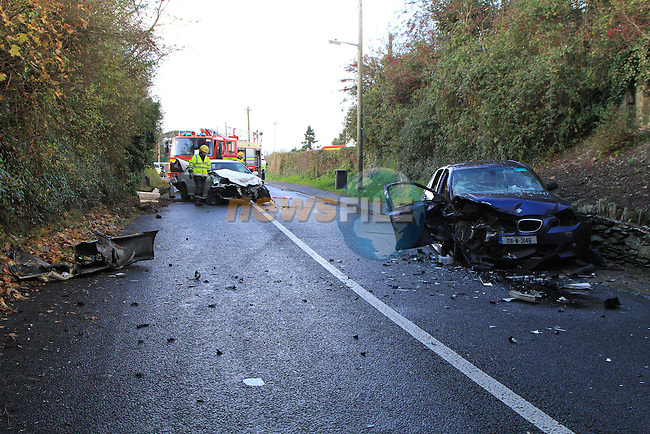 The scene of a two vehicle accident on the Dunleet to Clogherhead road in Dunleer. the Male driver of the white honda car was ejected from the vehicle after it was in collision with a blue BMWwith two passangers. All three involved were removed to Our Lady of Lourdes hospital in Drogheda..The Driver of the white car was in a critical condtion at the scene, with advanced paramedics and a doctor called to the scene. No further details are available at this time..The accident happened meters away from the local school and students  returning from lunch watched as the horrific scene unfolded in front of them..Picture Fran Caffrey/www.newsfile.ie