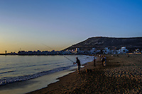 Sunset on the Agadir beach. Agadir is a major city on the Atlantic coast in southwest Morocco.