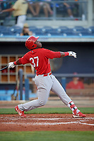 Palm Beach Cardinals designated hitter Johan Mieses (37) follows through on a swing during a game against the Charlotte Stone Crabs on April 21, 2018 at Charlotte Sports Park in Port Charlotte, Florida.  Charlotte defeated Palm Beach 5-2.  (Mike Janes/Four Seam Images)
