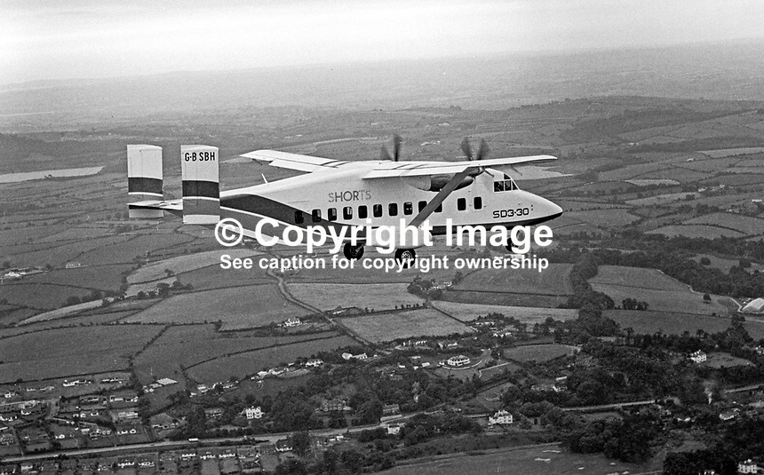 Short SD3-30 on its maiden flight over Co Down on 22nd August 1974 from Belfast Harbour Airport, N Ireland. The crew were John Richardson, co-pilot, Cliff McKee, chief development officer, and Don Wright, chief test pilot. Described by Short Brothers plc as a luxury commuter aircraft it will carry 30 passengers plus crew. 197408220453g<br />